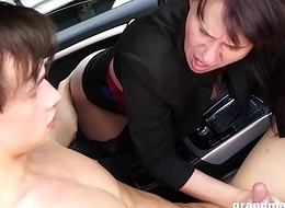 Granny Vicky libidinous to swell up cock in parking quantity GrandMams.com