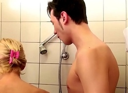 German Step-Mom help Son in Shower and Soft-soap to Fuck