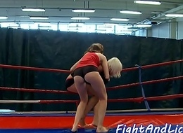 Lesbian babe wrestles and acquires queened