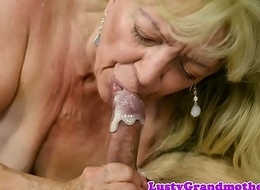 Saggy grandma gets cum everywhere mouth