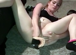 Railing a monumental dildo up her ass painful