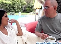 Euro teen doggystyled at the end of one's tether horny grandpa