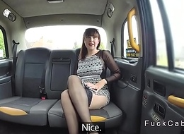 Hellacious abstruse in lingerie rimming in taxi