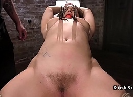 Busty babe in arms in bondage anal invasion fingered