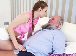 Cummed teen blows old man