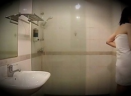 Husband and so hidden cam filming his cheating wife take shower with distance from