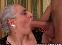 Granny Deep throats Effectively Youthful Cock