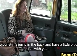 Undiluted taxi brit in stockings spunked on pussy