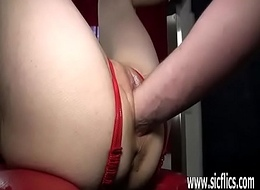 Fisting her loose teen muff in bondage